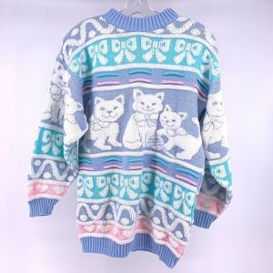 Vintage 90s Cat Pastel Heart Bow Grandma Sweater